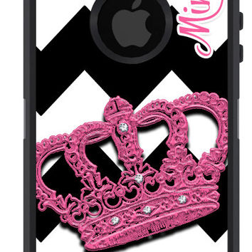 OTTERBOX Defender iPhone 5 5S 5C 4/4S iPod Touch 5G Case Crown Princess Pink Black Chevron Name Initials Personalized Monogram