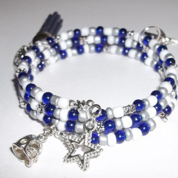 Dallas Cowboys LadyFan Artisan Crafted Charm Wrap Bracelet