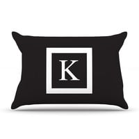 "KESS Original ""Monogram Solid Black"" Pillow Case"