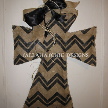 Tan & Black Chevron Cross Burlap Door Hanger