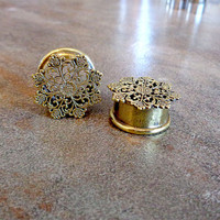 "Pair Antique Brass Plugs, Filigree Vintage Gauges, 2G 0G 00G 1/2"" 9/16"" 5/8"", Body Jewelry Nickel Free"