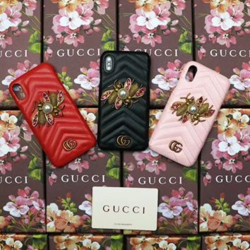 GUCCI Fashion new iphone mobile phone shell bee pearl protector phone case three color