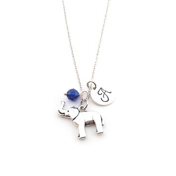Elephant Charm - Personalized Sterling Silver Necklace