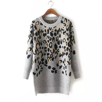 Leopard Sweater Winter Jacket Knit One Piece Dress [8216432705]