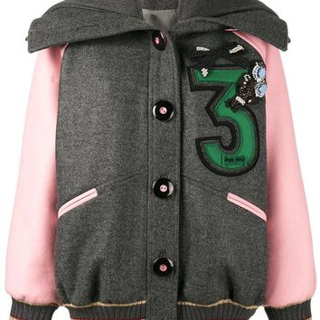 DCCKIN3 Miu Miu Embroidered Oversized Bomber Jacket