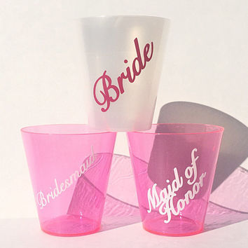 Bachelorette Party Shot Glasses - 10 Plastic 2 Ounce Shot Glass - White Pearl for Bride - Hot Pink for for Maid of Honor, Bridesmaids, Etc.