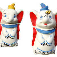 1940's Dumbo Turnabout Cookie Jar by Leeds Vintage Walt Disney Kitchen Elephant Decor
