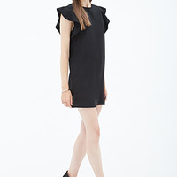 FOREVER 21 Flutter-Sleeve Crepe Dress Black