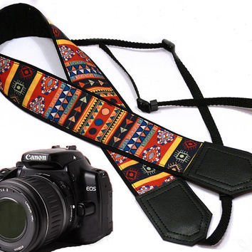Aztec Camera strap. Tribal camera strap. Multicolor. Ethnic Camera strap.  DSLR Camera Strap. Camera accessories.  Nikon Canon camera strap.