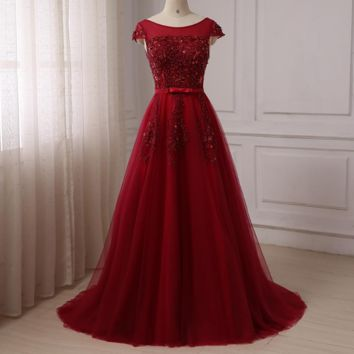 Evening Dress Scoop Long Tulle Party Evening Dresses Burgundy Prom Dresses