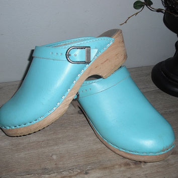vintage aqua blue Swedish clogs ... leather clogs Sweden Hanna Andersson
