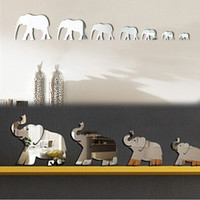 7 Elephants Mirror Wall Stickers Color Silver New Home 3D Decoration Wall Stickers Environmental Removable HG-WS-1738