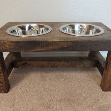 Dog Bowl Feeder - Farmhouse Style - Rustic Dog Bowl Stand - Raised Dog Bowl Feeder