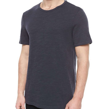Basic Crewneck Knit Tee, Navy, Size: