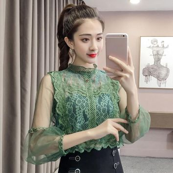 Lace Transparent Floral Lantern Sleeve Women Blouses Mesh Ultra Thin Black White Shirts Female Autumn Summer Sexy Ladies Tops