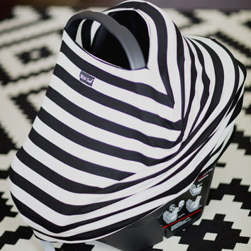 MILK SNOB™ SLOUCHY CAR SEAT COVER B&W Striped - MilkSnob