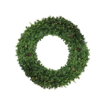 "48"" Pre-Lit Dakota Red Pine Artificial Christmas Wreath - Clear Lights"