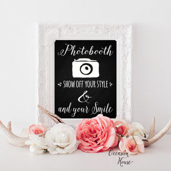 Photobooth sign art print, printable wedding photobooth sign, photo booth signage, photobooth prop, photo,selfie booth INSTANT DOWNLOAD