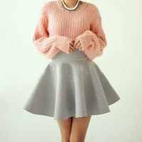 fashion Pure color mini skirt  LK1211CH