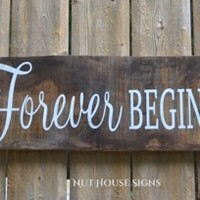 Wedding Sign Decor Wedding Gift Rustic Wedding Directional Barn Beach Country Love Quote Reclaimed Pallet Wood Signs Our Forever Begins Here