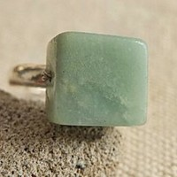 Original design handmade jewelry vintage natural square amazonstone bulk manual copper adjustable ring