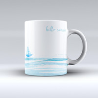 The Hello Summer Sailboat ink-Fuzed Ceramic Coffee Mug