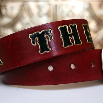 Custom Oxblood Leather Name Belt, Personalized With Anything / Personalized / Custom Leather Belt