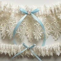 ALICIA Heirloom Ivory Venise Lace Garter Set with by JLWeddings
