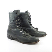 Roper Boots Vintage 1980s Gray Leather Granny Lace up Packer Justin Women's size 8 B