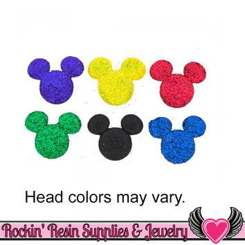 Disney GLITTER MICKEY MOUSE Head Licensed Jesse James Buttons Or Turn them into Flatback Cabochons