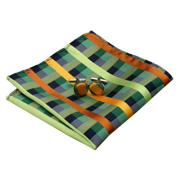 B-218 Mens Ties Blue Olive Yellowgreen Plaid Silk Tie Hanky Cufflink Gift Box Bag Sets Ties For Men