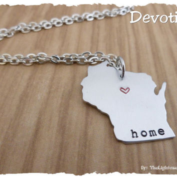 Personalized Hand Stamped State Charm - Home is where the heart is - Customize with YOUR state - Map Necklace or Charm - Custom  - gift