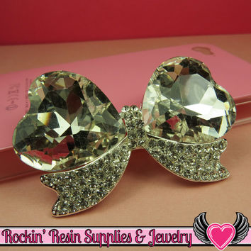 Large Clear Mirror Heart BOW with Crystal Rhinestones Silver Alloy DIY Cabochon Cellphone Decoration