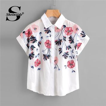 Sheinside White Floral Embroidery Shirt Women Roll Up Sleeve Button Top Summer Short Sleeve Office Work Wear Elegant Blouse