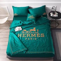 Green Luxury Hermes Designer Home Blanket Quilt coverlet 2 Pillows Shams 4 PC Bedding Set