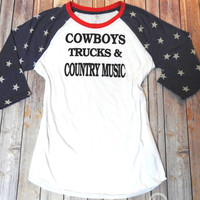 Stars & Stripes Burnout Baseball Tee