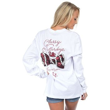 South Carolina Classy Saturday Long Sleeve Tee in White by Lauren James - FINAL SALE