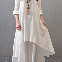 White Long Sleeve Layered Maxi Dress
