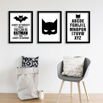 Batman Dark Knight gift Christmas Batman Picture Nordic Style Kids Decoration Kids Room Nordic Poster Cartoon Nursery Wall Pictures For Living Room Unframed AT_71_6