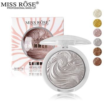 Miss Rose 3D Shimmer Powder Highlighter Palette Face Base Illuminator Makeup Bronzers Highlight Contour Silver Golden