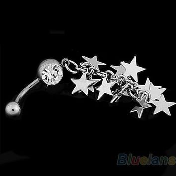 Crystal Stars Chain Dangle Navel Belly Button Ring Bar Piercing 0028