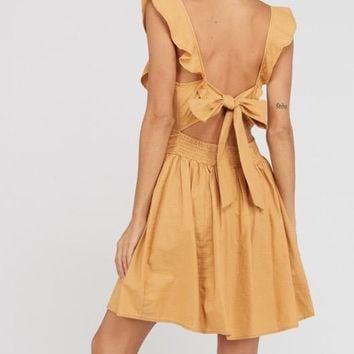 open bow back cotton fit and flare mini dress - mustard