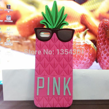 3D soft Silicone Fruit pineapple case for apple iphone 4 4s Hot Fashion Pink cover/cases   skin