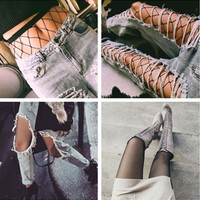 DCCK6HW Fashion Temptation Solid Color Fish Net Socks Hollow Mesh Stockings Pantyhose Tights
