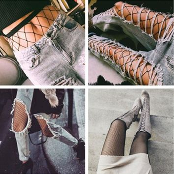 DCCKVQ8 Fashion Temptation Solid Color Fish Net Socks Hollow Mesh Stockings Pantyhose Tights