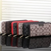 """Coach"" Women Purse Fashion Multicolor Stitching PU Classic Print Zip Long Section Wallet Handbag"