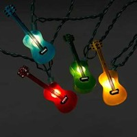 Multi-Color Guitars Party String Lights - Novelty Party Stringlight Strands & Sets - Oogalights.com - More Than 1,000 Party & String Light Bulbs!