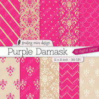 PURPLE DAMASK digital paper pack with purple damask patterns and classical textures for  scrapbooking, wedding, invites, cards and much more
