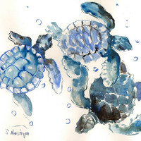 Three Sea Turtles Painting, Original watercolor painting, 14 X 11 in, sea world animals, illustration, nautical, blue gray children room art