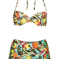 Topshop Tropical Print High Rise Bikini